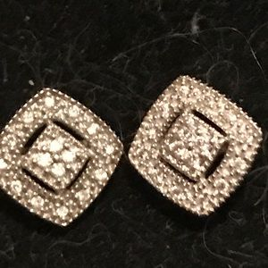 14K gold solid pave diamond earrings new